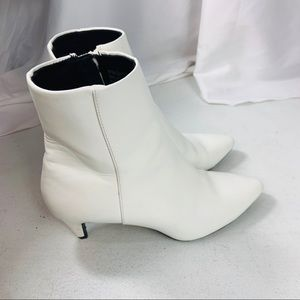 Christiano Siriano White Faux Leather Booties